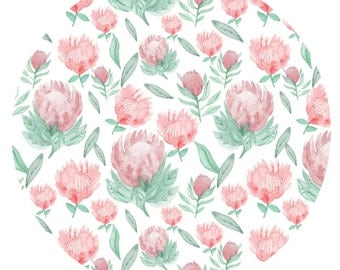 "Protea Watercolour Patterned Art Print 8""x10"""