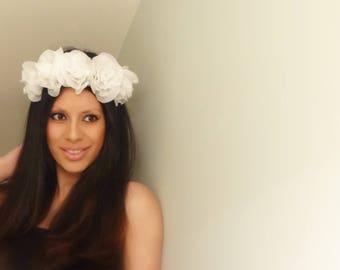 WHITE Floral Crown, Rose Crown, White Flower Crown