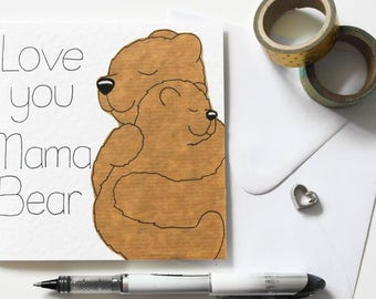 I love you Mama Bear card, Mother's day card, Mama Bear birthday card, Cute bear card, Bear Mum Birthday card, Mum and cub card, Mom card