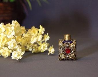 Ormolu Perfume Bottle, Miniature Jeweled Filigree Perfume bottle with Dauber, Gold Filigree Perfume Bottle, Sammie Doos USA