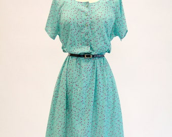 Vintage 70s 80s Mint Ivy Print Day Dress, Haband for Her, Retro Girly Sweet Print, Size Medium Large