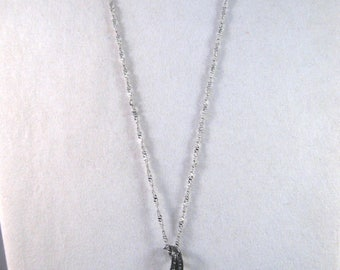 Nolan Miller Necklace - Black Orchid - Silver Tone with Crystals - S2055