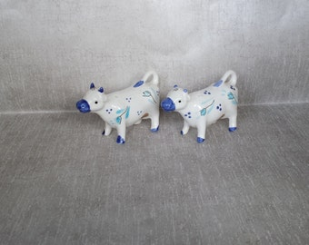 Enesco Japan Blue and White Cow Shakers