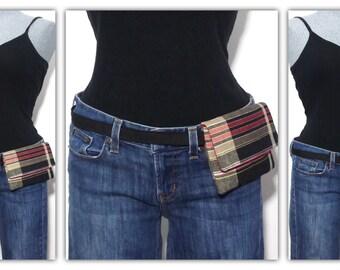 Belt bag, hip bag, fanny pack, mini messenger - black, red, brown plaid