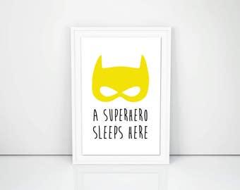 PRINTABLE ART, A Superhero sleeps here, yellow poster, 8.5 x 11 in, Kid's bedroom, Superhero, Boys Wall decor, DIY, print at home, nursery