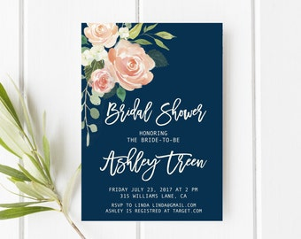 Navy and blush bridal shower invitation, Peach bridal shower invitation, Floral bridal shower invitation, Printable bridal shower invitation