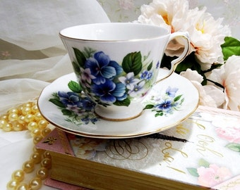 Vintage 1950s, Royal Vale Bone China England, Tea Cup and Saucer, with Blue Pansies