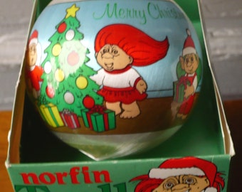 Vintage Norfin Troll Satin Ball Ornament Merry Christmas