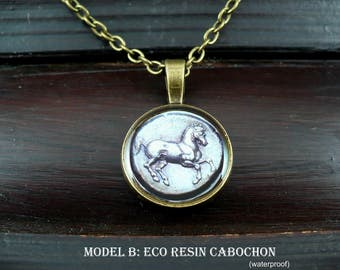 Horse necklace, greek coin jewelry, Greece archaeology, horse lover gift, farm animal necklace, unisex men necklace, 15% off shipping