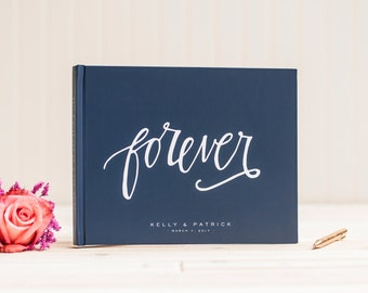 Custom Photo Album horizontal wedding guest book personalized photo album navy wedding photo album wedding scrapbook wedding photo album