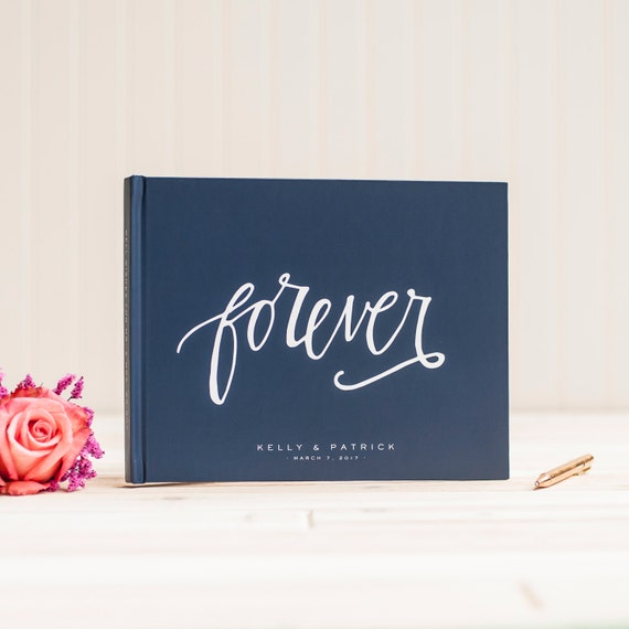Wedding Guest Book landscape horizontal navy wedding guestbook personalized hardcover album planner lined black pages instant photo booth