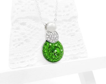 Kelly Green Crystal Bridal Necklace, Fern Green Swarovski Crystal Necklace, Grass Green Bridal Bridesmaid Pendant Necklace