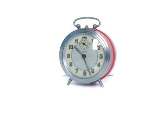 Red Bayard reveil alarm clock -- retro French home decor timepiece
