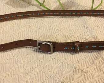 Brown Leather Beaded Belt Unknown Brand