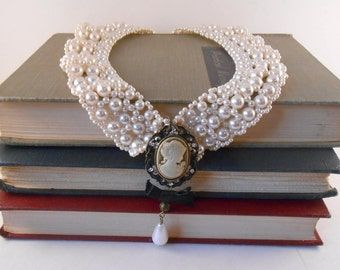 Pearl Cameo Bib Necklace - Upcycled Choker - Collar Necklace