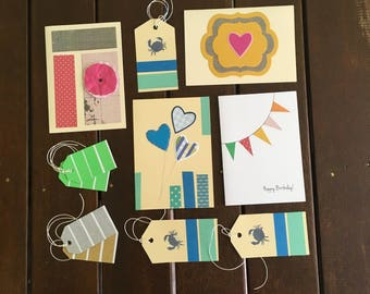 Greeting Card & Gift Tag Set, Set of Cards, Happy Birthday, Flower, Heart, Balloon Card, Bunting Card, Washi Tape, On Sale, Kraft Envelopes