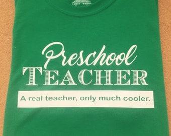 Preschool Teacher Custom T-Shirt, daycare, babysitter, cool teacher