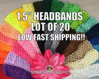 Crochet Headbands 1.5 inch - LOT OF 20 wholesale baby headband, elastic baby headbands