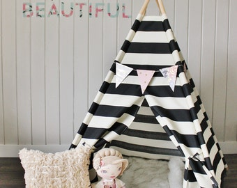 BLACK STRIPE Indoor Outdoor, Monochrome, Canvas, Play House, Teepee, Play Tent, Nursery, Teepee Tent, Kids Teepee, Indoor