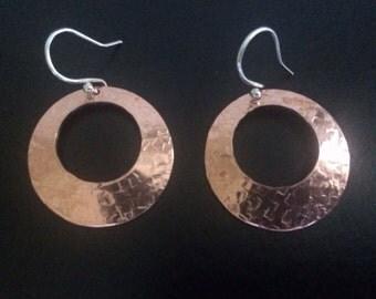 Copper Domed Disc Earrings, Mixed Metal Earrings, Sterling Silver Copper Hoop Earrings, Copper Jewellery, Mixed Metal Jewellery Gift