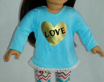 18 inch doll clothes, american made girl doll clothes, mint graphic tunic,ethnic print leggings, lace tunic, 18 inch outfits