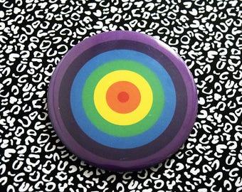 Super Cute Rainbow in Reverse Concentric Circle Design Pocket Mirror