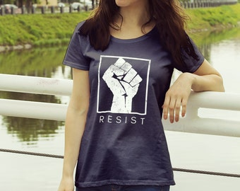 "Feminist Shirt: ""RESIST"" Protest and Resistance Shirt (multiple colors) by Fourth Wave feminist apparel, handmade, soft, great gift!"