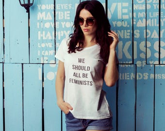 "Feminist T-Shirt: ""We Should All Be Feminists"" shirt (multiple colors) Vintage Feminist Tee by Fourth Wave Feminist Apparel (Great gift!)"