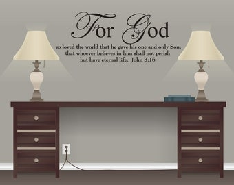 John 3:16 For God So Loved the World Scripture Vinyl Wall Decal Décor
