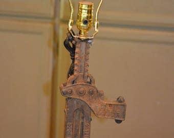 Repurposed Jack Stand Desk Lamp