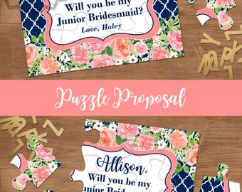 Will You Be My Junior Bridesmaid Puzzle Card, Personalized Flower Girl Gift With Message, Ask Flower Girl, Bridesmaid, Maid of Honor