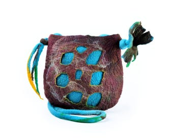 Felt shoulder bag for spring & summer - designer bag or purse in turquoise and brown - hand felted bag in medium size, long flower bag [T30]