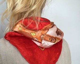Vintage Silk Scarf / Silk Equestrian Scarf / Neck Scarf / Equestrian Gifts / Equestrian Clothing / Vintage Scarf / Silk Neck Scarf