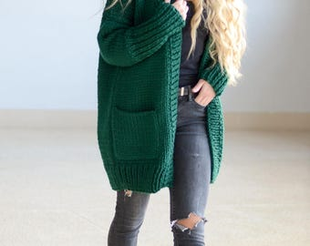Chunky knit cardigan, Oversized cardigan, Chunky knitting cardigan, Knit coat, Womens jacket, Gift for her, Emerald green cardigan