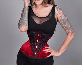 New maroon bordeaux cherry red lace guipure velvet velour underbust steel bones waist training real corset cincher