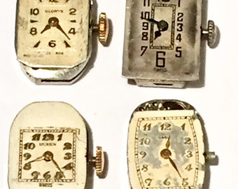 Jewelry Lot Watch Movements 4pcs Vintage Watches Steampunk Supplies Old watch parts Watch Repair Watch Lot Steam punk Jewelry Supplies