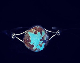 Sterling Silver Bracelet with Mine #8 Turquoise Cabochon
