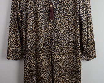 80's Full Length Cheetah Print Nightgown / Lingerie / Robe / Pajamas