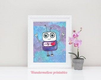 Tiny robot printable, Galaxy Nursery art Printable Art, Galaxy art, Instant download, Home decor, Prints,  Printable