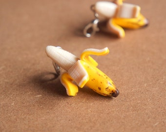Banana Charm - Miniature Food Jewelry, Polymer Clay Food. Exotic Fruit. Miniature Banana. Banana Fruit Jewelry.