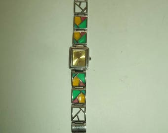 ANRIYA   Lovely Stained Glass Style Panel Watch