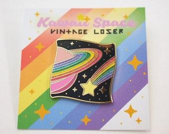 Kawaii Space Enamel Pin / Pin Game, Star Lapel Pin, Pastel Rainbow Pin, Planet Enamel Glitter Pin, Pastel Goth Clothing, Pastel Grunge Pin