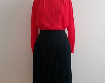 Gilmar red silk pleated blouse