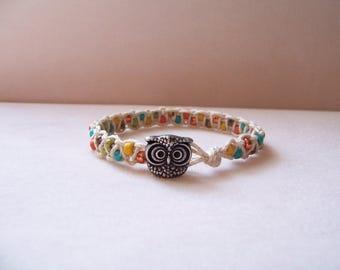 Colorful Owl Beaded Macrame Bracelet, Hemp Bracelet, Macrame Jewelry, Owl Bracelet, Owl Jewelry, Hemp Jewelry, Macrame Bracelet