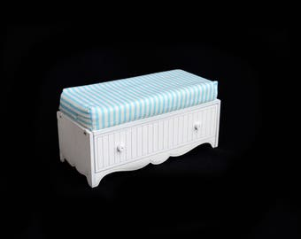 Doll bench with a drawer. Scale 1/6 YoSD, 1/4 MSD, 1/3 SD (bjd, barbie, monster high, momoko, blythe, pullip, FR, fashion doll furniture)