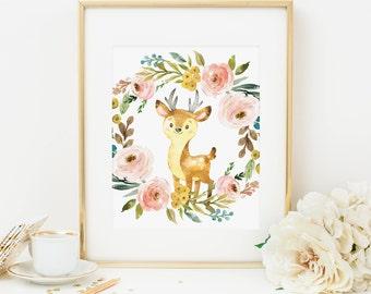 Deer Printable Blush Floral Nursery Wall Art Woodland Nursery Decor Woodland Animal Print Floral Wreath Girl Nursery Art Pink Floral 233