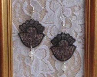 Brown Baroque Lace Earrings