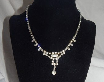 Vintage Clear Rhinestone Necklace Silver Tone Vintage Kramer Rhinestone Necklace Signed