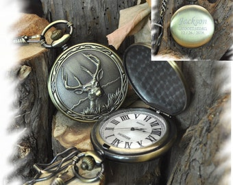 Elk Pattern Bronze Pocket Watch , Groomsmen Gift , Engraved Pocket Watch, Gift for Groom, Steampunk pocket watch, personalized pocket watch