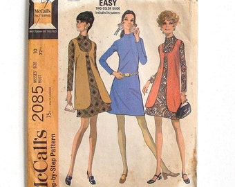 Vintage 60's McCall's Dress & Vest Sewing Pattern #2085 - Size 10 (Bust 32 1/2)